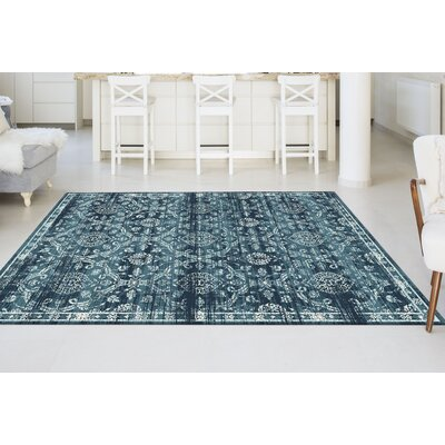 Josue Blue Area Rug Rug Size: 76 x 103