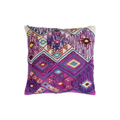 Gauge 100% Cotton Throw Pillow Size: 18 H x 18 W, Color: Bright Purple/Bright Pink