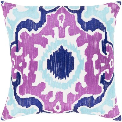 Ayaan 100% Cotton Pillow Cover Color: Bright Purple/Violet/Aqua, Size: 20 H x 20 W