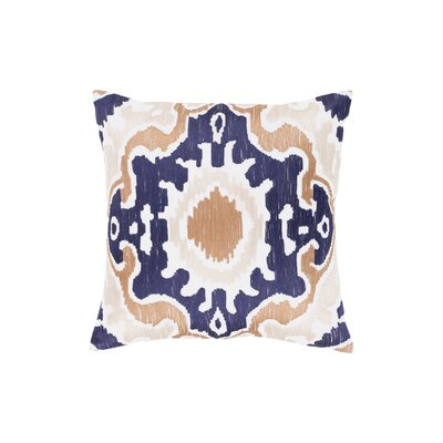 Ayaan 100% Cotton Throw Pillow Size: 18 H x 18 W, Color: Navy/Camel/Beige