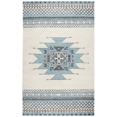 Pascal Hand-Tufted Aqua Wool Area Rug Rug Size: Rectangle 8 x 10