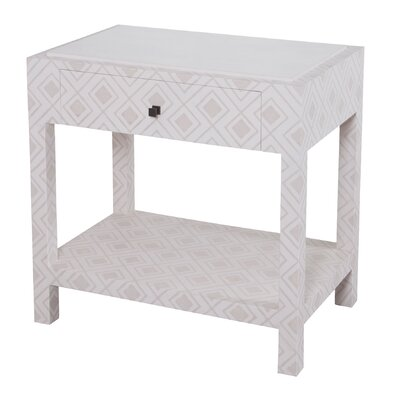Lisa Fabric Wrapped 1 Drawer Nightstand