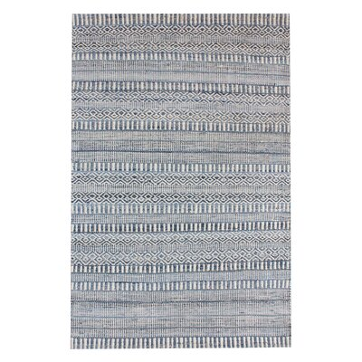 Dora Hand-Woven Ivory/Blue Area Rug Rug Size: Square 6