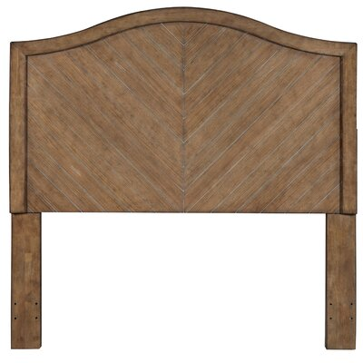 Vivianne Camel Back Chevron Patterned Cerused Wood Queen Panel Headboard