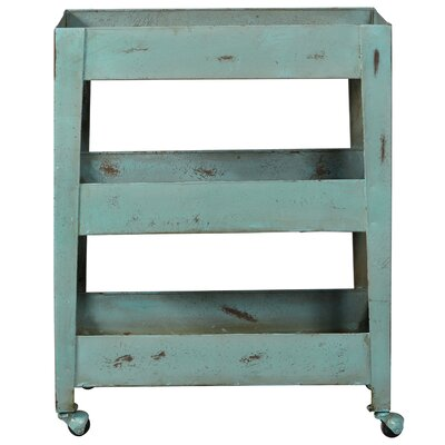 Nora Distressed Blue Mesh Shelf Metal Bar Cart