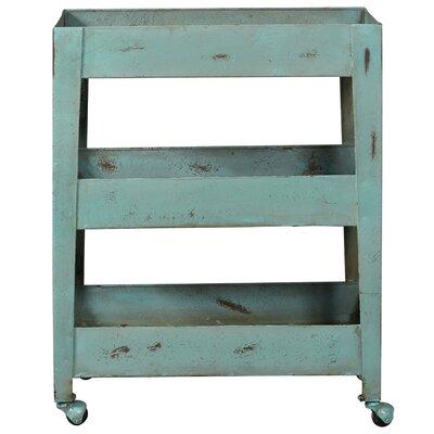 Bungalow Rose Nora Distressed Blue Mesh Shelf Metal Bar Cart