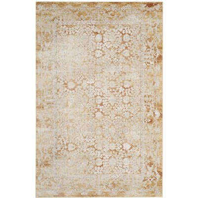 Jerry Gold/Beige Area Rug Rug Size: 51 x 76