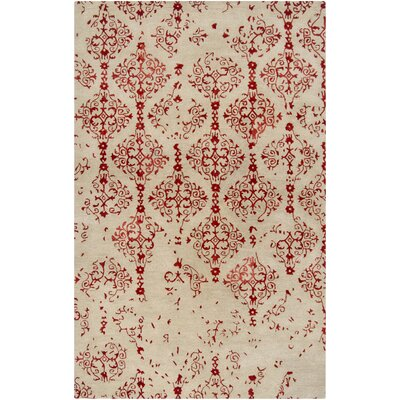 Bower Beige/Cherry Damask Rug