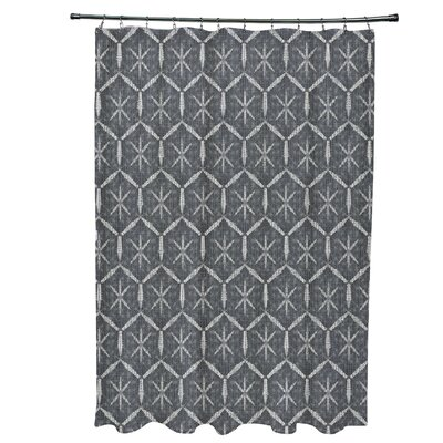 Molly Tufted Geometric Shower Curtain Color: Black