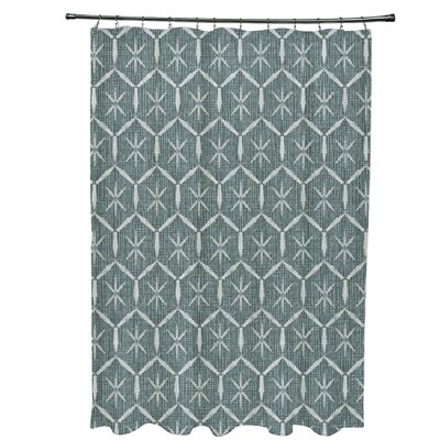 Arlo Tufted Geometric Shower Curtain Color: Green