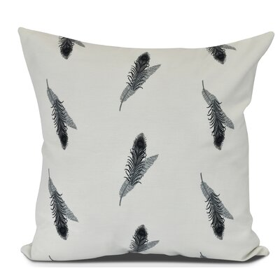Arlo Feather Floral Throw Pillow Color: Black, Size: 20 H x 20 W