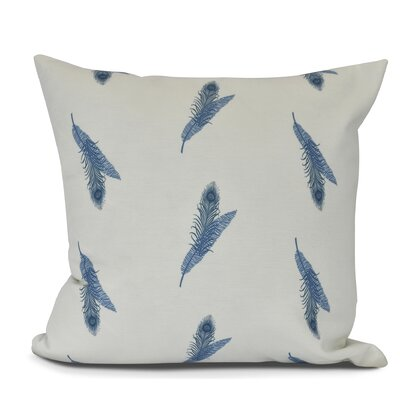 Arlo Feather Floral Throw Pillow Size: 16 H x 16 W, Color: Blue