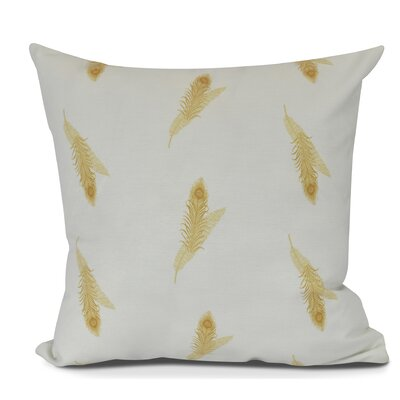 Arlo Feather Floral Throw Pillow Size: 18 H x 18 W, Color: Gold