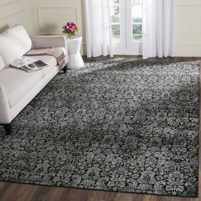 Vishnu Black / Light Gray Area Rug Rug Size: 51 x 77