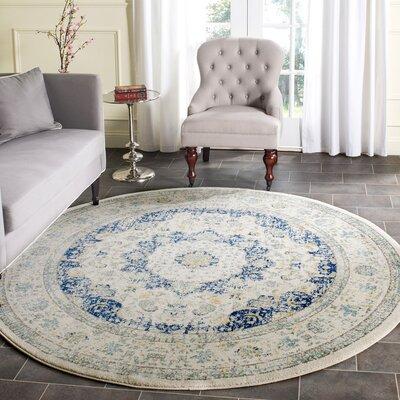 Ameesha Ivory/Blue Area Rug Rug Size: Round 5
