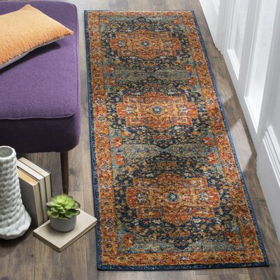 Battista Blue/Orange Area Rug Rug Size: Runner 22 x 15