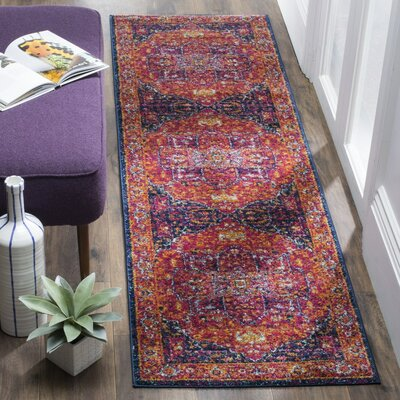 Schneider Pink/Orange Area Rug Rug Size: Runner 22 x 7