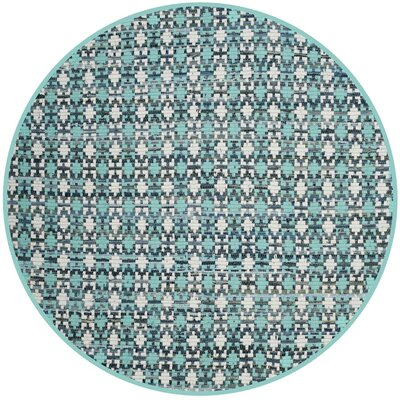 Saleem Hand-Woven Turquoise Area Rug Rug Size: Round 4