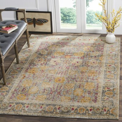 Edna Beige/Yellow Area Rug Rug Size: Rectangle 9 x 12