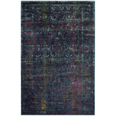 Marian Blue/Yellow Area Rug Rug Size: 4 x 6