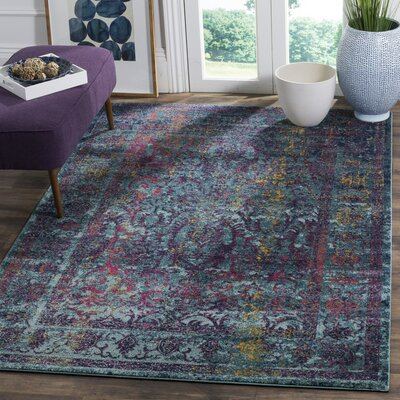 Sariya Blue/Yellow Area Rug Rug Size: Rectangle 67 x 9