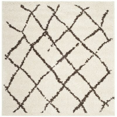 Zettie Creme/Brown Area Rug Rug Size: Square 51 x 51