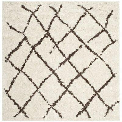 Zettie Creme/Brown Area Rug Rug Size: Square 51 x 51