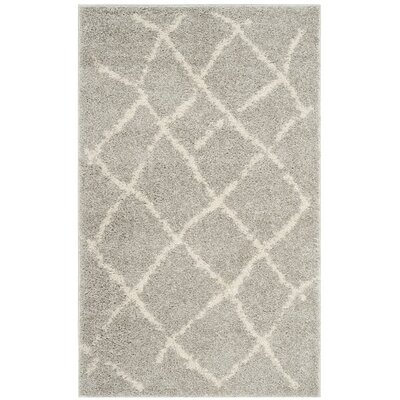 Zettie Light Gray/Cream Area Rug Rug Size: Round 51 x 51