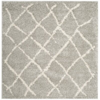 Zettie Light Gray/Cream Area Rug Rug Size: Square 51 x 51