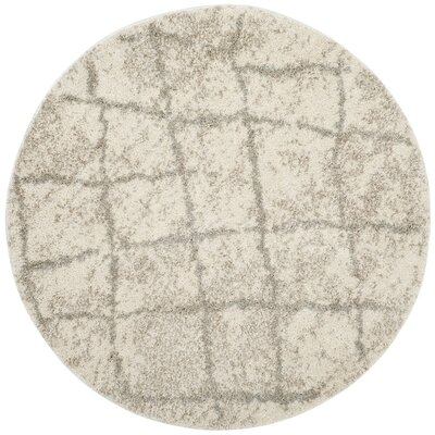 Zettie Cream/Light Gray Area Rug Rug Size: Round 5'1