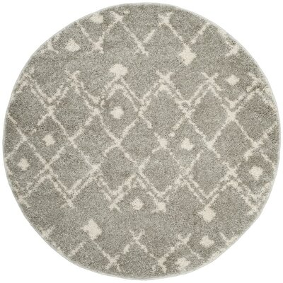 Saira Light Gray/Cream Area Rug Rug Size: Round 51 x 51
