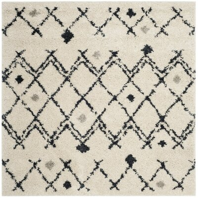 Mangual Cream/Navy Area Rug Rug Size: Square 51