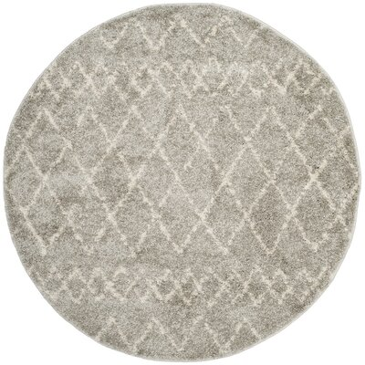Tourville Light Gray/Cream Area Rug Rug Size: Round 51 x 51