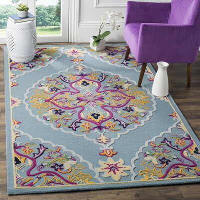 Blokzijl Hand-Tufted Light Blue Area Rug Rug Size: 2 x 3