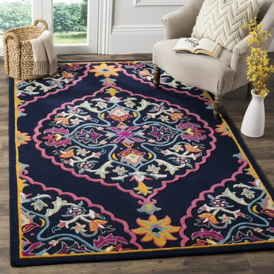 Blokzijl Hand-Tufted Navy Blue Area Rug Rug Size: Square 7