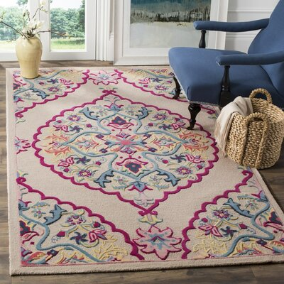 Blokzijl Hand-Tufted Wool Purple/Pink Area Rug Rug Size: Round 5