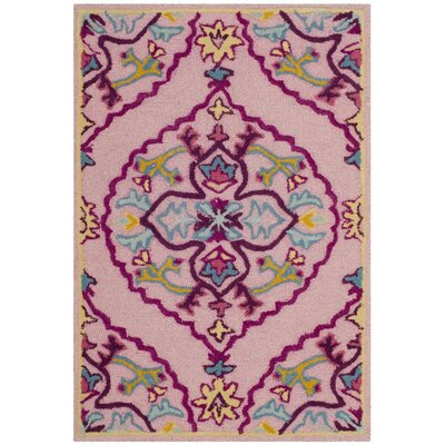 Blokzijl Hand-Tufted Pink Area Rug Rug Size: Rectangle 3 x 5