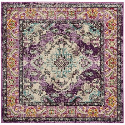 Newburyport Violet/Light Blue Area Rug Rug Size: Square 5