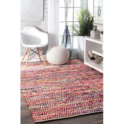 Hussain Hand Woven Cotton Magenta Area Rug Rug Size: Rectangle 2 x 3