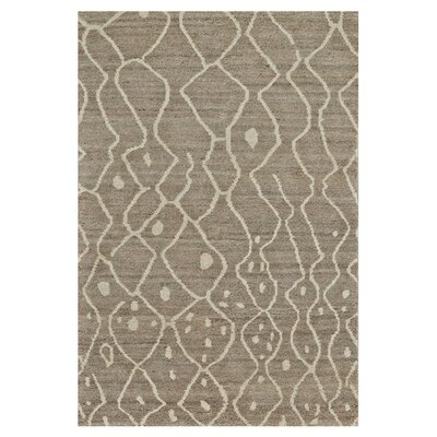 Olson Hand-Knotted Natural/Gray Area Rug Rug Size: 56 x 86