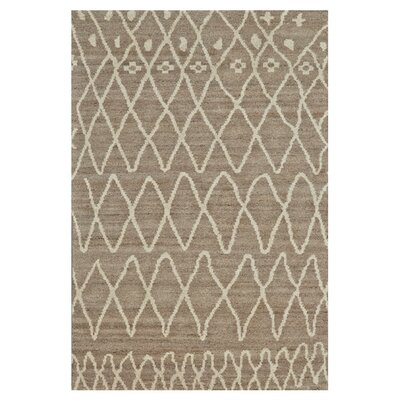 Louisa Hand-Knotted Natural/Slate Area Rug Size: 4 x 6