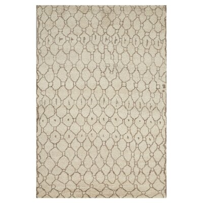 Alessandra Hand-Knotted Natural/Ecru Area Rug Size: Rectangle 56 x 86