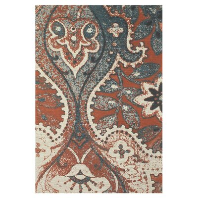 Ventnor Hand-Loomed Orange/Blue Area Rug Size: Rectangle 4 x 6