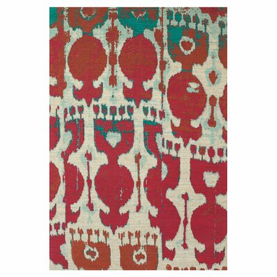 Allegra Hand-Loomed Red/Teal Area Rug Size: 8 x 11