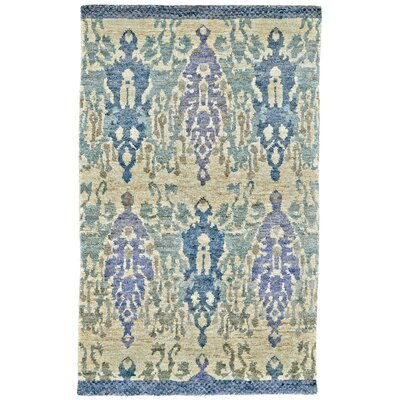 Rios Hand-Woven Blue/Beige Area Rug Rug Size: Rectangle 56 x 86