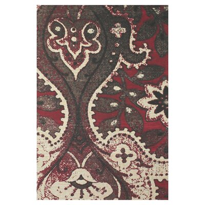 Luna Black/Red Area Rug Rug Size: 8 x 11