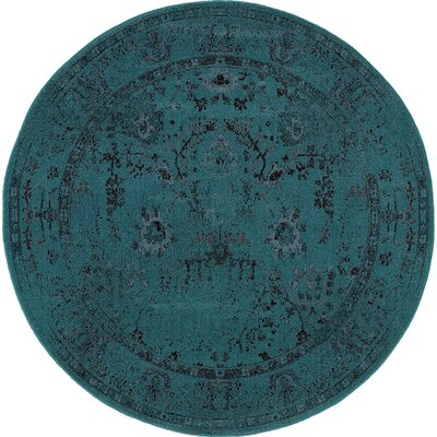 Bertina Hand Woven Teal Blue Area Rug Rug Size: Round 78