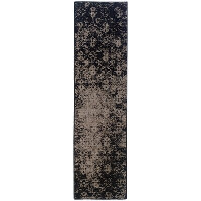 Raiden Gray/Black Area Rug Rug Size: Runner 110 x 76