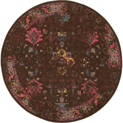 Raiden Navy/Brown Area Rug Rug Size: Round 78
