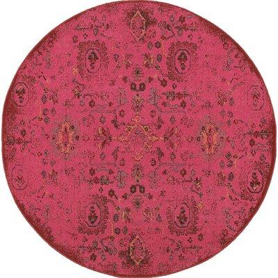 Raiden Pink Area Rug Rug Size: Round 78